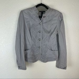 INC Grey Embroidered Button Cotton Jacket Size M